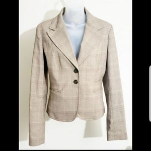 Michael Kors Beige Fitted Plaid Womens Blazer